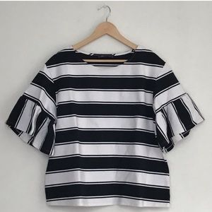 M&S Collection | Black & cream striped top | US 14